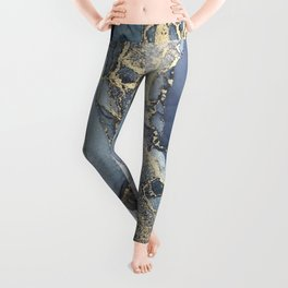 Blush, Payne's Gray and Gold Metallic Abstract Leggings