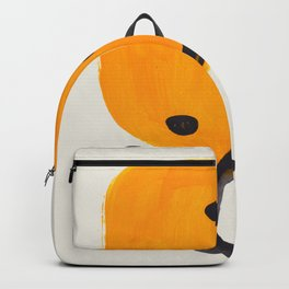 Unique Abstract Unique Mid century Modern Yellow Mustard Black Ring Dots Backpack