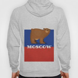 Moscow Bear and flag travel poster. Hoody