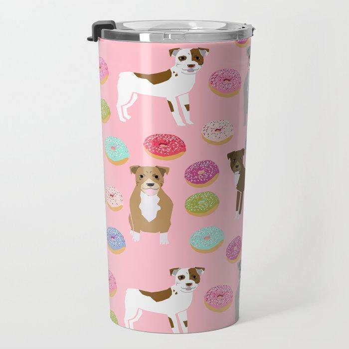 Pitbull dog breed donuts doughnut dog art pibble dog lover rescue pupper Travel Mug
