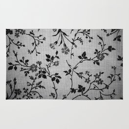 Texture vintage floral pattern elegant flowers gray fabric Rug