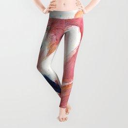 Pink Flamingo Watercolor Leggings
