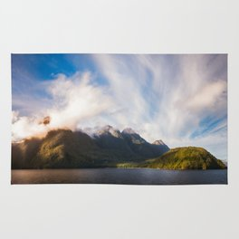 Glorious Light early in the Morning on Lake Manapouri Rug