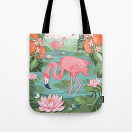 Flamingo and Waterlily Tote Bag