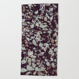 charcoal seashell pattern Beach Towel
