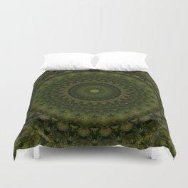 Mandala in olive green tones Duvet Cover