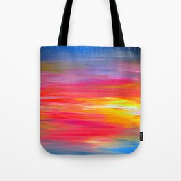 BRIGHT HORIZONS Bold Colorful Rainbow Pink Yellow Blue Abstract Painting Sunrise Sunset Stripes  Tote Bag