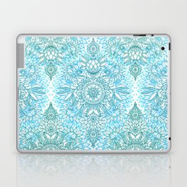 Turquoise Blue, Teal & White Protea Doodle Pattern Laptop & iPad Skin