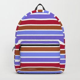Modern violet red brown geometrical stripes pattern Backpack