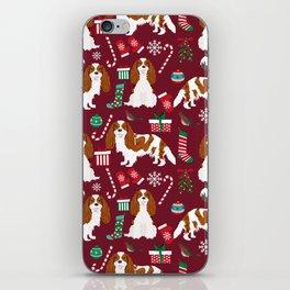 Cavalier King Charles Spaniel blenheim coat christmas pattern dog breed by pet friendly iPhone Skin