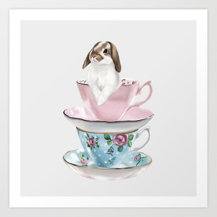 Bunny in a Teacup (Literally) Art Print