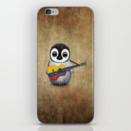 Baby Penguin Playing Colombian Flag Acoustic Guitar iPhone Skin