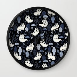 Ghost Cats in the Cemetery Wall Clock