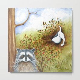 Silly Dog  Jack Russell Terrier, Raccoon, Landscape Painting, Original Art Metal Print
