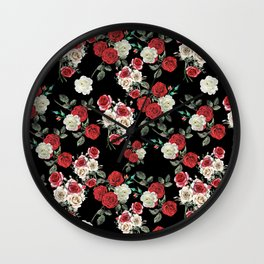 Seamless Floral Pattern Wall Clock