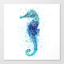 Blue Turquoise Watercolor Seahorse Canvas Print