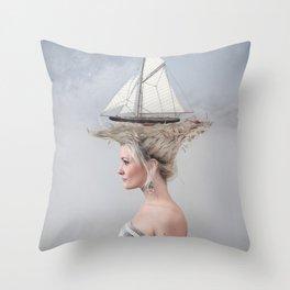 Sailing - White Throw Pillow