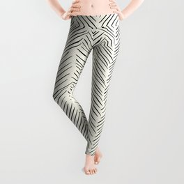 Herringbone Black on Cream Leggings