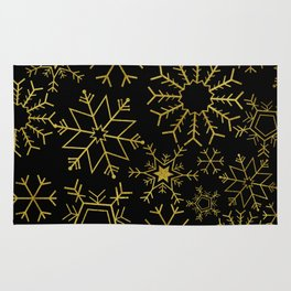 Gold and black snowflakes Rug