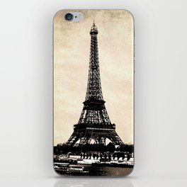 VINTAGE EIFFEL TOWER IN SEPIA iPhone Skin