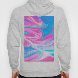 Modern abstract pink turquoise blue bright marble effect Hoody
