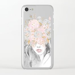 She Wore Flowers in Her Hair Rose Gold by Nature Magick Clear iPhone Case