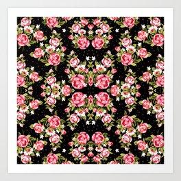Floral black Art Print
