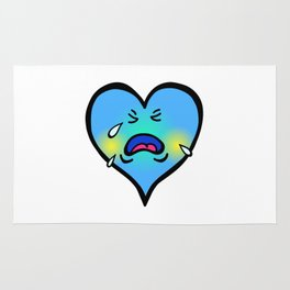 Crying Blue Heart Rug