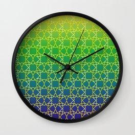 Geometry Star Pattern Yellow Green Blue Wall Clock