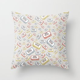 Primary Mixtapes on Neutral Grey Throw Pillow