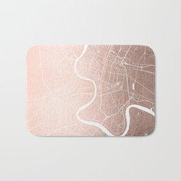 Bangkok Thailand Minimal Street Map - Rose Gold Pink and White II Bath Mat
