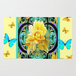 Yellow & Turquoise Butterflies & Rose Pattern Rug