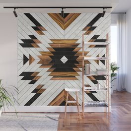 Urban Tribal Pattern No.5 - Aztec - Concrete and Wood Wall Mural