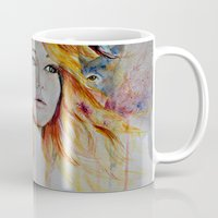jennifer lawrence Mugs featuring Jennifer Lawrence Watercolor (Light) by Halinka H