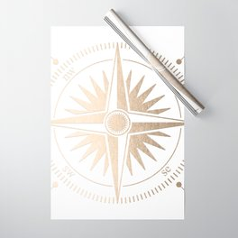 Gold on White Compass Wrapping Paper