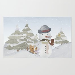 Winter Wonderland - Funny Snowman and friends - Watercolor illustration III Rug