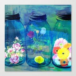 Flowers Jars Canvas Print