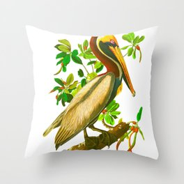 Brown Pelican Vintage Illustration Throw Pillow