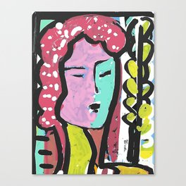 French Bus ticket recycled Art Portrait Canvas Print