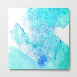 Artistic turquoise aqua teal watercolor paint Metal Print