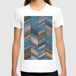 Colorful Concrete Chevron Pattern - Blue, Grey, Brown T-shirt