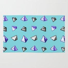 Blue Geometric Watercolor Pyramid Pattern Rug