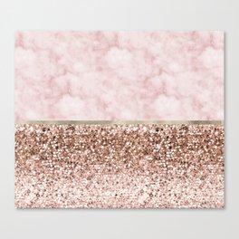 Warm chromatic - pink marble Canvas Print