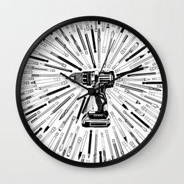 Art Power Tools Drill Bit Set Doodle Wall Clock
