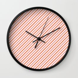 Orange and coral stripes Wall Clock