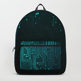 Abstract blue lights background Backpack