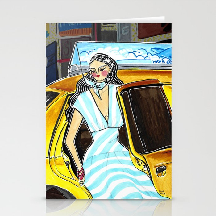 Yellow Cab at Time Square – Original Fashion art, Fashion Illustration, Fashion wall art Stationery Cards