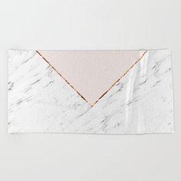 Peony blush geometric marble Beach Towel