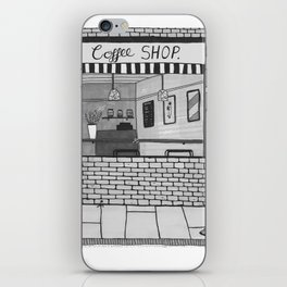 London Coffee Shop in Black and White iPhone Skin