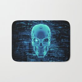 Gamer Skull BLUE TECH / 3D render of cyborg head Bath Mat